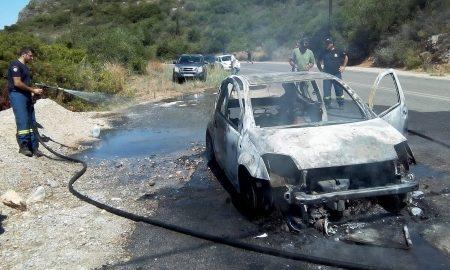 Στις φλόγες τυλίχτηκε αυτοκίνητο στον δρόμο για Στούπα!