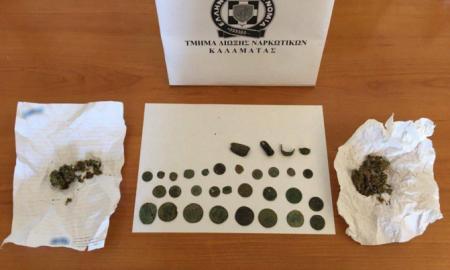 Σύλληψη 35χρονου στους Γαργαλιάνους για κατοχή ναρκωτικών και αρχαίων νομισμάτων