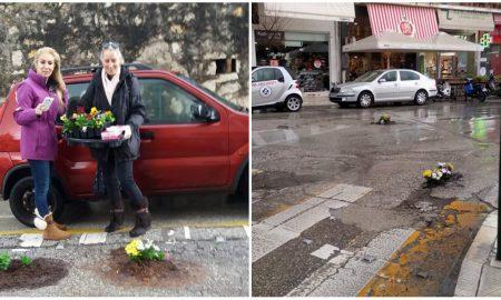 Φύτεψαν λουλούδια στις.. λακκούβες του δρόμου!