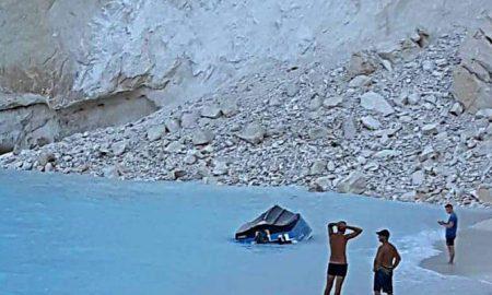 Ζάκυνθος: Έπεσε βράχος στο Ναυάγιο – Τρεις τραυματίες – VIDEO