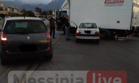 Καλαμάτα: ΙΧ σφηνώθηκε σε φορτηγό στη Νέα είσοδο