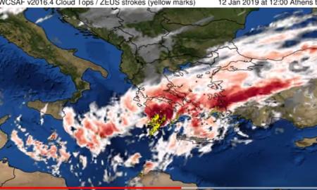 Εθνικό Αστεροσκοπείο Αθηνών: Το πέρασμα της καταιγίδας και οι κεραυνοί από τον δορυφόρο!