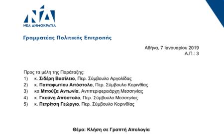Σε γραπτή απολογία καλεί ο Αυγενάκης 5 περιφερειακούς συμβούλους του Τατούλη