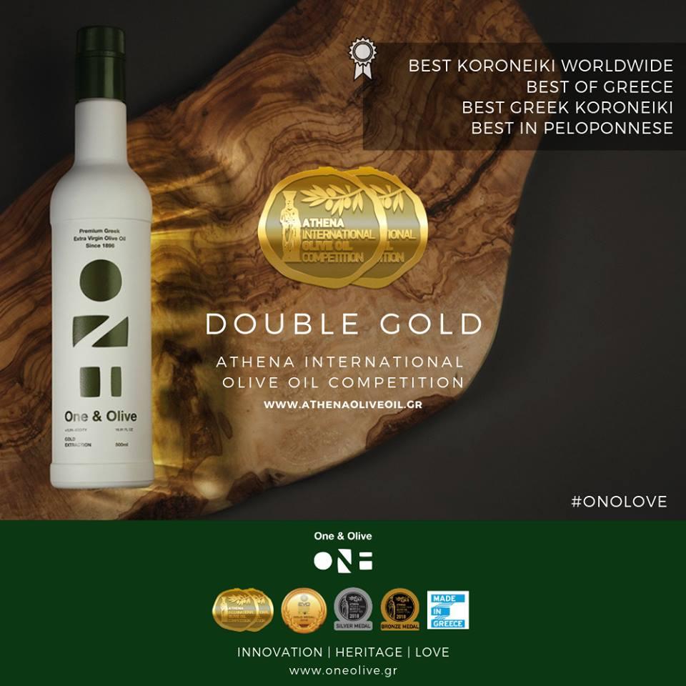 """Διπλό Χρυσό Βραβείο για το ελαιόλαδο """"One & Olive"""" από του Μάνεση-Στα καλύτερα παγκοσμίως!"""
