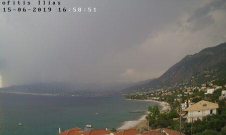 Ισχυρή καταιγίδα με χαλαζόπτωση σε Ασπροπουλιά και Μπουρνιά!