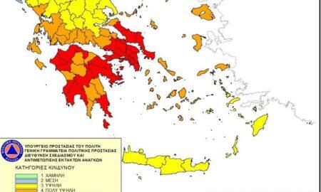 """Πολιτική Προστασία: Στο """"κόκκινο"""" σήμερα η Μεσσηνία"""