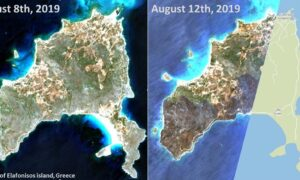 Ελαφόνησος: Εικόνες σοκ του δορυφόρου -Το πριν και το μετά της πυρκαγιάς