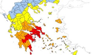 """Πολύ υψηλός κίνδυνος εκδήλωσης πυρκαγιάς σήμερα στη Μεσσηνία-""""Στο κόκκινο"""" 3 Περιφέρειες"""