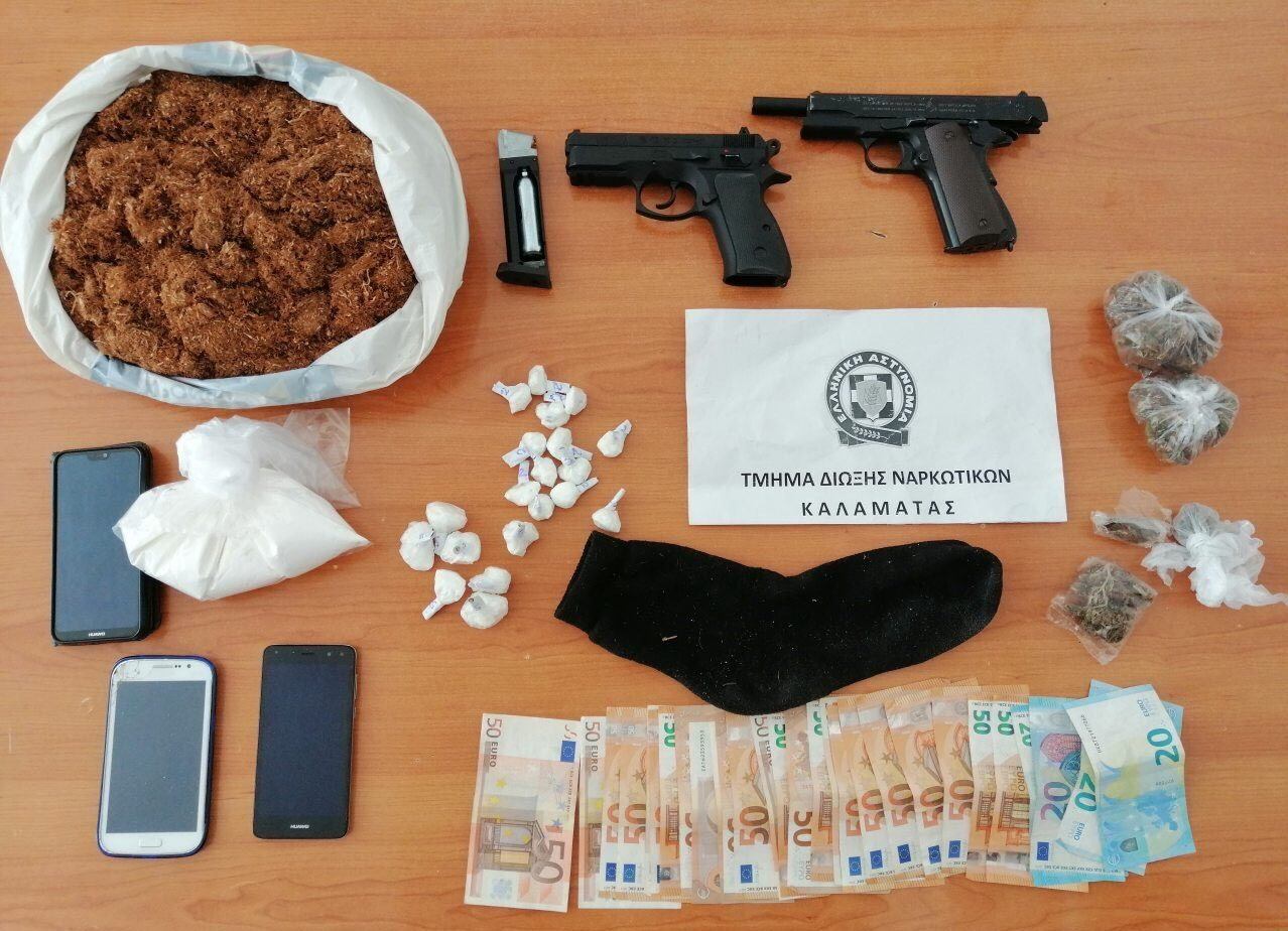 Καλαμάτα: Τρεις συλλήψεις για ναρκωτικά, λαθραίο καπνό και όπλα!
