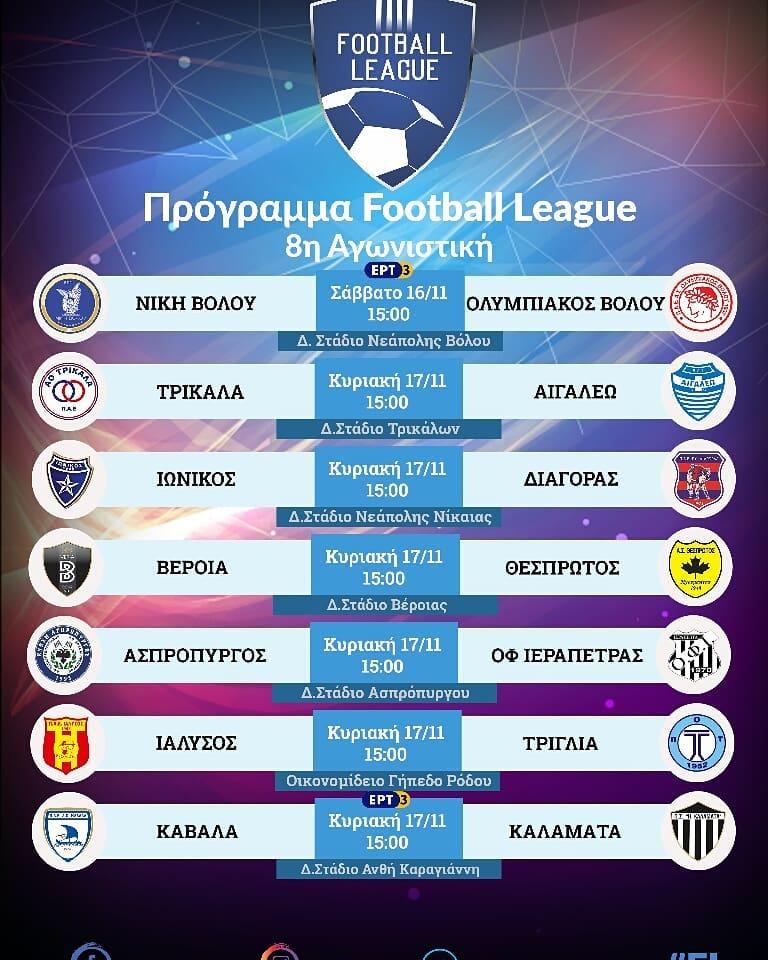 Football league: Κάμερες σε Καβάλα-Καλαμάτα και Βόλο στην 8η αγων.