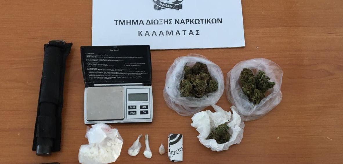 Συνελήφθη 39χρονος στην Καλαμάτα με κοκαΐνη, χασίς, και μεθαμφεταμίνη